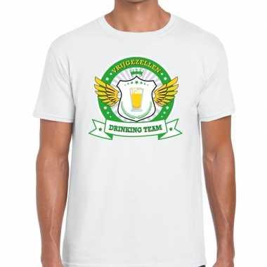 Wit vrijgezellenfeest drinking team t-shirt groen geel herenfeestje!
