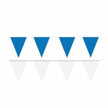 Witte/blauwe feest punt vlaggetjes pakket 200 meter- feestje!