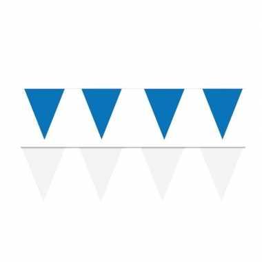 Witte/blauwe feest punt vlaggetjes pakket 60 meter- feestje!