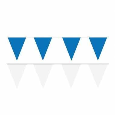 Witte/blauwe feest punt vlaggetjes pakket 80 meter- feestje!