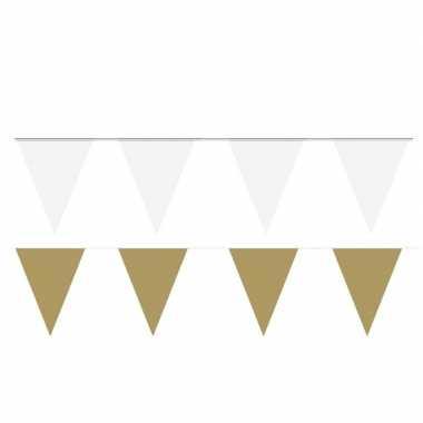 Witte/gouden feest punt vlaggetjes pakket 120 meter- feestje!