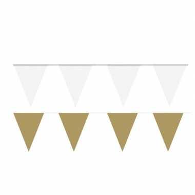 Witte/gouden feest punt vlaggetjes pakket 200 meter- feestje!