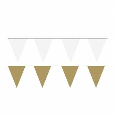 Witte/gouden feest punt vlaggetjes pakket 80 meter- feestje!