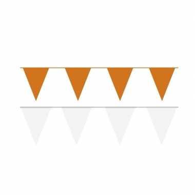 Witte/oranje feest punt vlaggetjes pakket 200 meter- feestje!