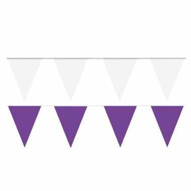 Witte/paarse feest punt vlaggetjes pakket 120 meter- feestje!