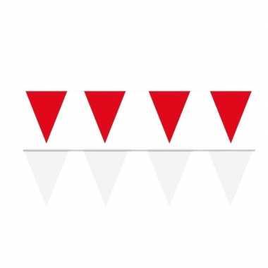 Witte/rode feest punt vlaggetjes pakket 120 meter- feestje!
