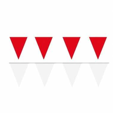 Witte/rode feest punt vlaggetjes pakket 80 meter- feestje!