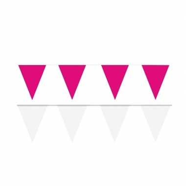 Witte/roze feest punt vlaggetjes pakket 120 meter- feestje!