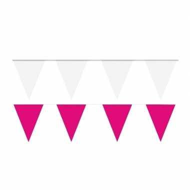 Witte/roze feest punt vlaggetjes pakket 60 meter- feestje!