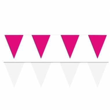 Witte/roze feest punt vlaggetjes pakket 80 meter- feestje!