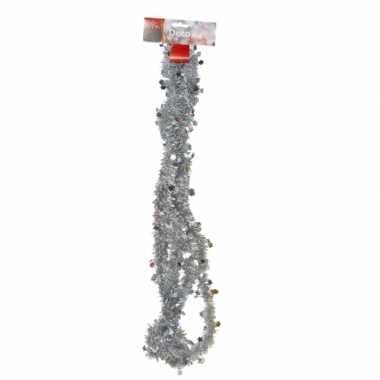 Zilveren tinsel feestslinger 270 cm- feestje!