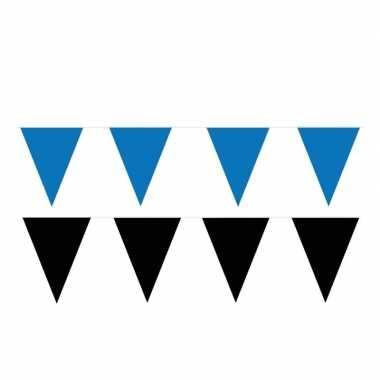 Zwart/blauwe feest punt vlaggetjes pakket 120 meter- feestje!