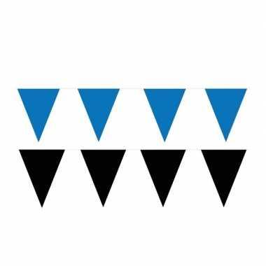 Zwart/blauwe feest punt vlaggetjes pakket 200 meter- feestje!