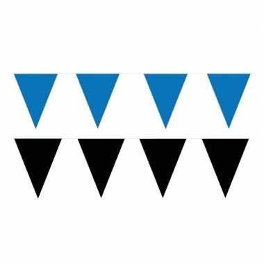 Zwart/blauwe feest punt vlaggetjes pakket 60 meter- feestje!