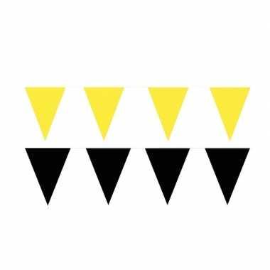 Zwart/gele feest punt vlaggetjes pakket 120 meter- feestje!