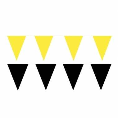 Zwart/gele feest punt vlaggetjes pakket 60 meter- feestje!