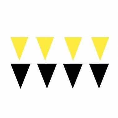 Zwart/gele feest punt vlaggetjes pakket 80 meter- feestje!