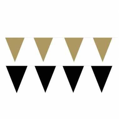 Zwart/gouden feest punt vlaggetjes pakket 120 meter- feestje!