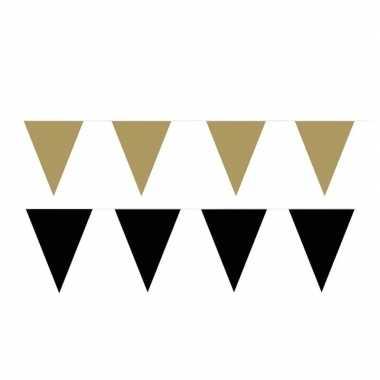 Zwart/gouden feest punt vlaggetjes pakket 60 meter- feestje!