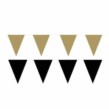 Zwart/gouden feest punt vlaggetjes pakket 80 meter- feestje!