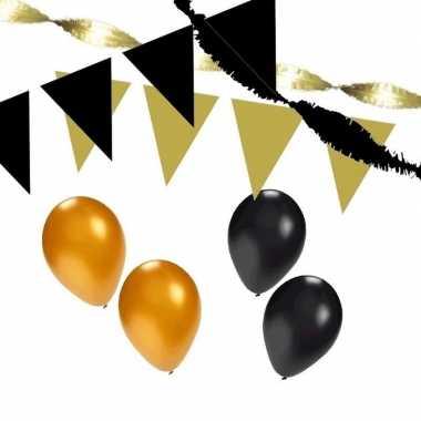 Zwart/gouden feest versiering pakket huiskamer- feestje!