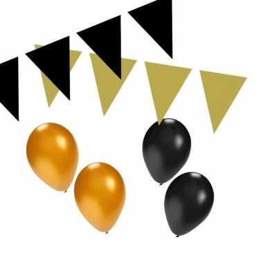 Zwart/gouden feest versiering pakket small- feestje!