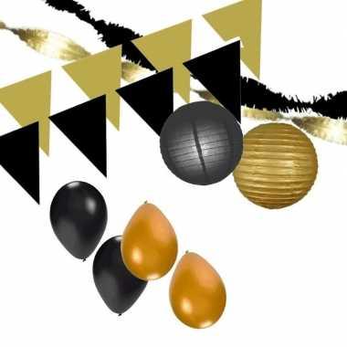 Zwart/gouden feest versiering pakket xxl- feestje!