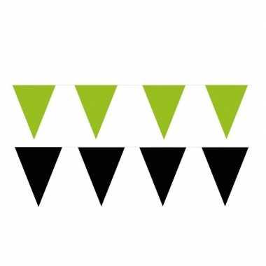 Zwart/groene feest punt vlaggetjes pakket 200 meter- feestje!