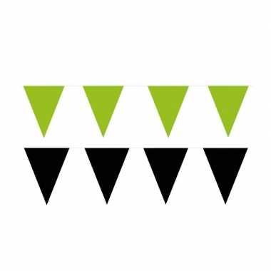 Zwart/groene feest punt vlaggetjes pakket 60 meter- feestje!
