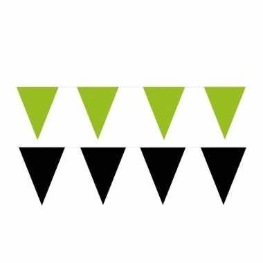 Zwart/groene feest punt vlaggetjes pakket 80 meter- feestje!