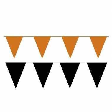 Zwart/oranje feest punt vlaggetjes pakket 120 meter- feestje!