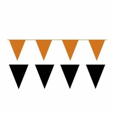 Zwart/oranje feest punt vlaggetjes pakket 200 meter- feestje!