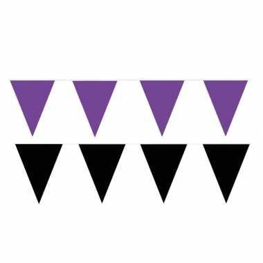 Zwart/paarse feest punt vlaggetjes pakket 120 meter- feestje!