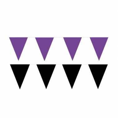 Zwart/paarse feest punt vlaggetjes pakket 60 meter- feestje!