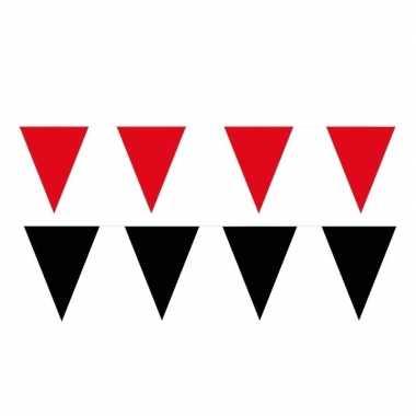 Zwart/rode feest punt vlaggetjes pakket 120 meter- feestje!