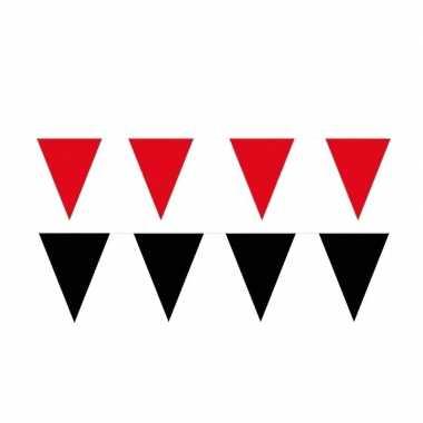 Zwart/rode feest punt vlaggetjes pakket 60 meter- feestje!