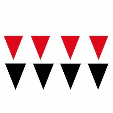 Zwart/rode feest punt vlaggetjes pakket 80 meter- feestje!
