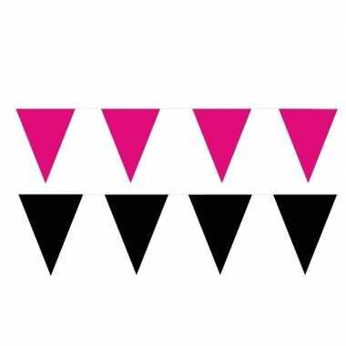 Zwart/roze feest punt vlaggetjes pakket 200 meter- feestje!