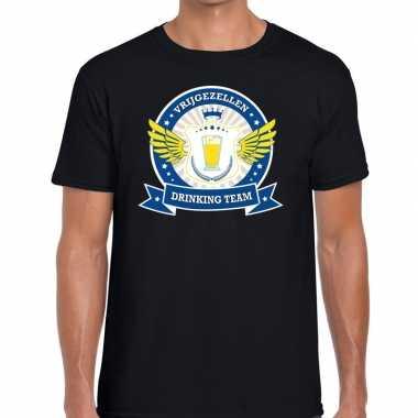 Zwart vrijgezellenfeest drinking team t-shirt blauw geel herenfeestje