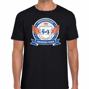 Zwart vrijgezellenfeest drinking team t-shirt blauw oranje herenfeest