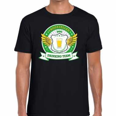 Zwart vrijgezellenfeest drinking team t-shirt groen geel herenfeestje