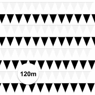 Zwart/witte feest punt vlaggetjes pakket 120 meter- feestje!
