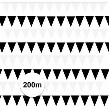 Zwart/witte feest punt vlaggetjes pakket 200 meter- feestje!