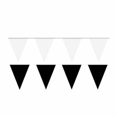 Zwart/witte feest punt vlaggetjes pakket 60 meter- feestje!