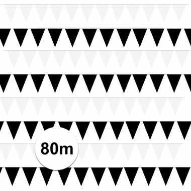 Zwart/witte feest punt vlaggetjes pakket 80 meter- feestje!