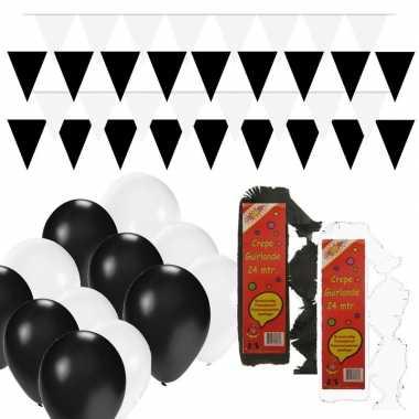 Zwart/witte feest versiering pakket huiskamer- feestje!