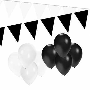 Zwart/witte feest versiering pakket small- feestje!