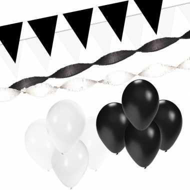 Zwart/witte feest versiering pakket xl- feestje!