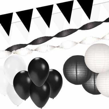 Zwart/witte feest versiering pakket xxl- feestje!