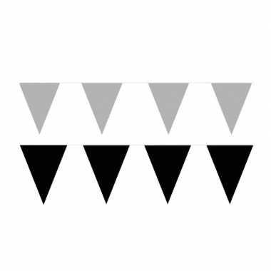 Zwart/zilveren feest punt vlaggetjes pakket 200 meter- feestje!